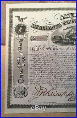 American Merchants Union Express Company Stock Certificate