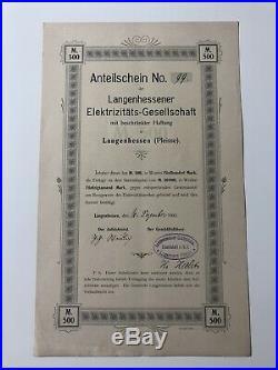 Anteilschein Langenhessen Elektrizitäts Gesellschaft 500 M v. 1903 No. 99 Pleisse
