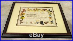 Antique WW2 1944 War Bond with Disney Characters Signed & Framed