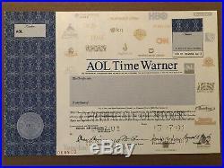 Aol Time Warner Specimen Stock Certificate Scarce Multimedia Computer 2001