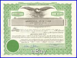 Aronimink Swim Club Drexel Hill Pennsylvania ASC stock certificate scripophily