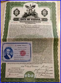 Austrian 1927 City Vienna 1000 Dollars Gold Coupons NOT CANCELLED Bond Loan ABNC