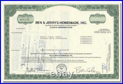 Ben & Jerry's Homemade, Inc. Stock Certificate Greatest Ice Cream (Very Rare)