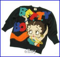Betty Boop. Black Design Knit Sweater Size M Black Rare
