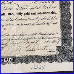 Big Stone Gap Baseball Stock Certificate Virginia Minor League 1907 Executed