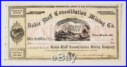 Bodie Bluff Consolidation Mining Co. Stanford Signed Stock Cert c1860's