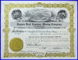 Boulder, MT 1954 Square Deal Uranium Mining Co. Stock Certificate NUMBER ONE/#1
