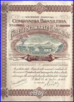 Brazil Bond 1927 Company Fichet Schwartz Hautmont Rs 500$000 Uncancelled Deco