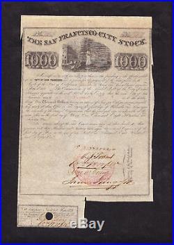 CALIFORNIA VIGILANTE FOUNDER JAMES KING of WILLIAM SIGNED SAN FRANCISCO STOCK