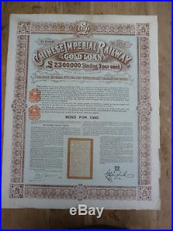 CHINESE IMPERIAL RAILWAY, GOLD LOAN of 1899, 100 Pounds Sterling, Coupons, rare