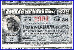 CHOICE CRISP BLUE 1907 ESTADO DURANGO MEXICO BOND w 44 COUPONS! SPECTACULAR FIND