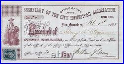CIVIL WAR California 1865 Homestead Association Stock Doc. WithTax stamp