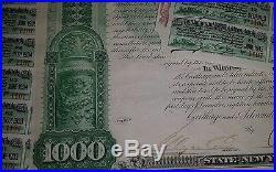 Carthage & Adirondack Railway Co 1883 4% Payable In Us Gold Coin Bearer Bond Nr