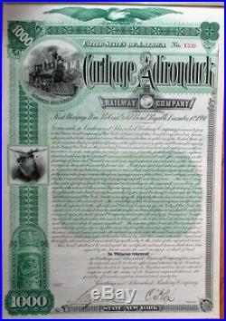Carthage & Adirondack Railway Company' 1892 Railroad Gold Bond Certificate RR