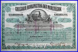 Chicago Burlington Northern JOHN MURRAY FORBES Autograph, 1886 Stock Certificate