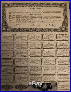 China 1937 Chinese Liberty 1000 $ Dollars 31 Coupons UNC Bond Loan Stock Pass-Co