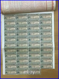 China Chinese Government 1913 £20 Reorganization Bond + 43 Coupons Uncancelled