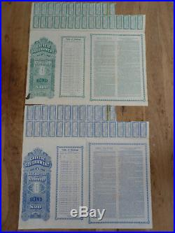 Chinese Government, Gold Loan of 1912, Crisp Loan 20 & 100 Sterling with Coupons