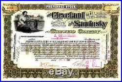 Cleveland and Sandusky Brewing Company OH 1898 Stock Certificate