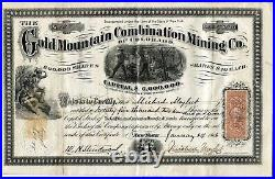 Colorado Territory Gold Mountain Mining Company 1866 Stock Certificate