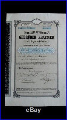 Commandit-Gesellschaft Gebrüder Kraemer 1859 sehr selten