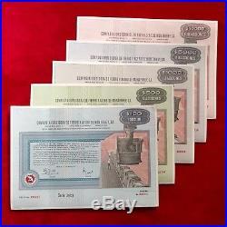 Compañía Fundidora de Fierro y Acero de Monterrey 1970 Lot of 5 different shares