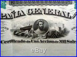 Compañía General del Perú, unissued share certificate 1000 soles 18XX Fine