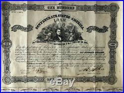 Confederate States of America $100 Loan Bond No. 2078, Richmond Virginia CSA