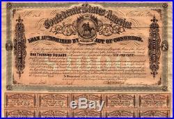 Confederate States of America $ 1000 loan mit Kupons Richmond 1864 USA