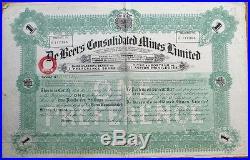 De Beers Consolidated Mines, Ltd.' 1933 Diamond Mining Stock Certificate/Bond