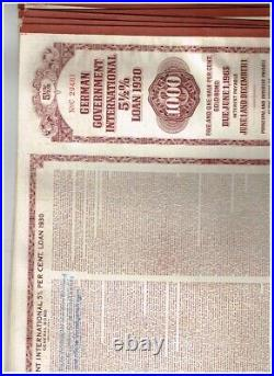 Dealers' Lot 6 German Government Int. Loan (Young-Loan) 1930, $1000 Gold Bond