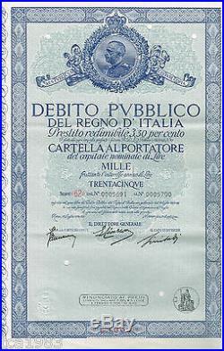 Debito Pubblico Del Regno D' ITALIA / ITALY Certificate/Bond L1000, 1,000Lira