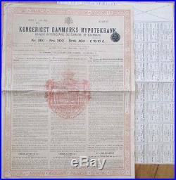 Denmark Giant Bond Banque Hypothécaire du Royaume de Danemark/Banque/Bank 1908