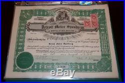 Detroit Motor Speedway Detroit MI STOCK CERTIFICATE Rare! 1915