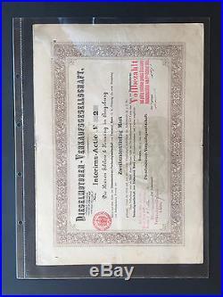 Dieselmotoren-Verkaufsgesellschaft Interims-Actie 1898 original, Sammleraktie