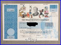 Disney Company Original Stock Certificate Symbol DIS Mickey Disneya