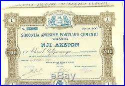 Document albania stocks, bonds, loans 1929 1 aksion 200 fr. Ar. +21 coupons UNIQUE