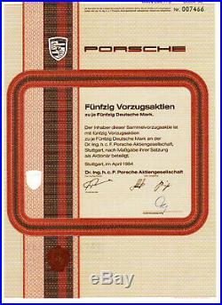 Dr. Ing. H. C. F. Porsche AG Aktie Vorzugsaktie 2500 DM Stuttgart 1984