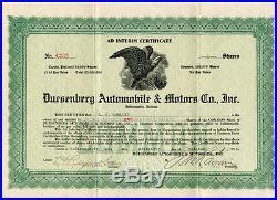 Duesenberg Automobile & Motors Co Inc 1922 Stock Certificate