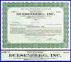 Duesenberg, Inc. 1927 Stock Certificate