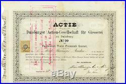 Duisburger Actien-Gesellschaft für Giesserei Duisburg Gründeraktie 1873 Böninger