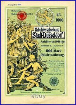 Düsseldorf hist. Deko Anleihe 1908 Jugendstil Düsseldorfer Malerschule Schmidt