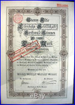 Eisenbahn Ges. Greifswald Grimmen Gründer Aktie 1896 Mecklenburg Vorpommern