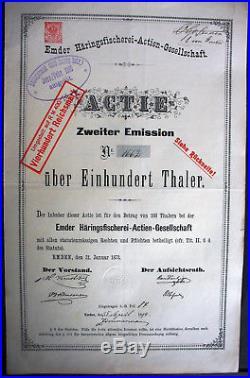 Emder Häringsfischerei Aktie Emden 1873 Niedersachsen Friesland Hering Fischfang
