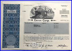 Enron stock certificate infamous bankruptcy financial scandal accounting fraud