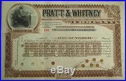FRANCIS ASHBURY PRATT-Signed'Pratt & Whitney Co.' 1890 Stock Certificate