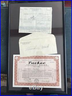 Framed 3 Docs Confirm Statement + Envelope from Originator + Stock Certificate