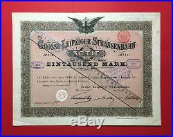 Frühe AKTIE Actie LEIPZIG Grosse Leipziger Strassenbahn von 1898  F18566