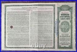 GERMANY bond Dawes German External Loan 1000 $ in gold 1924, no coupons, holed