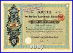 Gera Meuselwitz Wuitzer Eisenbahn AG Berlin hist. Aktie 1901 Wuitz Mumsdorf